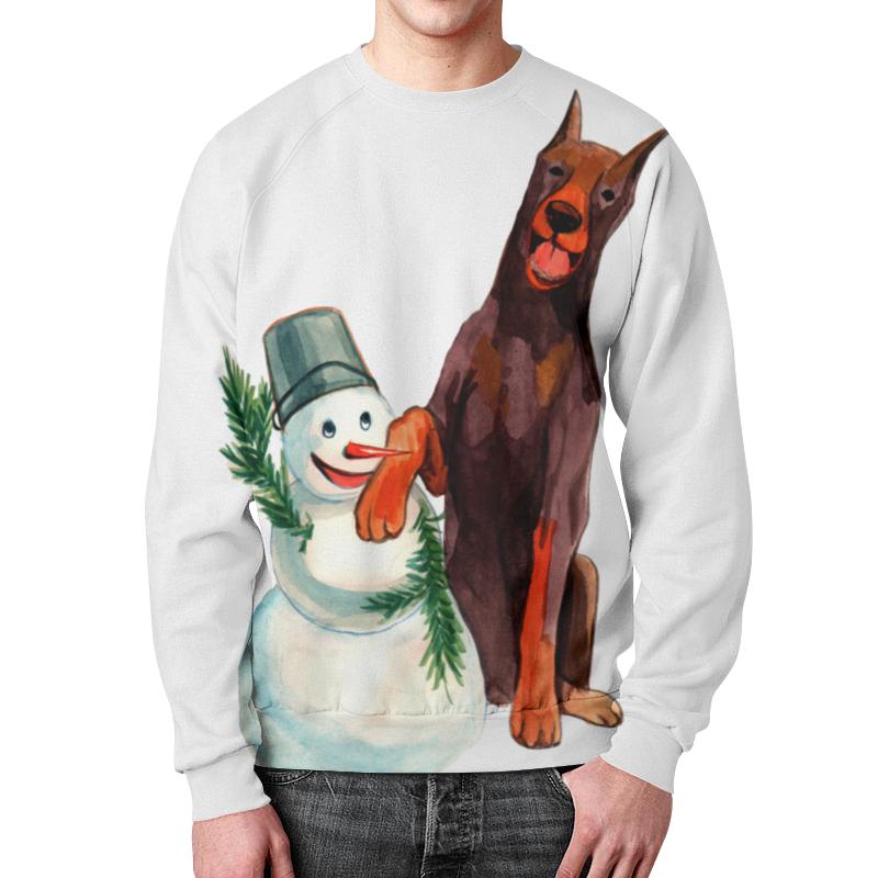 Свитшот мужской с полной запечаткой Printio Забавная акварельная собака, символ 2018 года футболка классическая printio акварельная новогодняя забавная собака