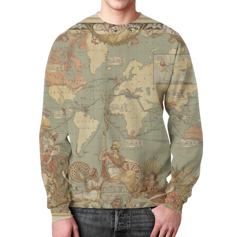 Свитшот мужской с полной запечаткой Printio Карта мира 1886