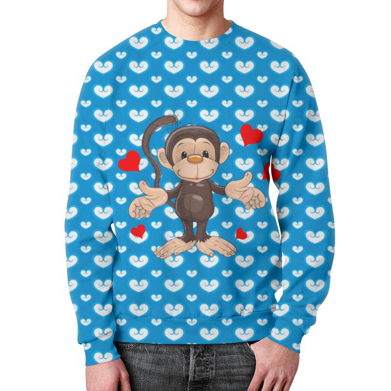 Свитшот унисекс с полной запечаткой Printio Обезьянка пуффи сув обезьянка с сердцем
