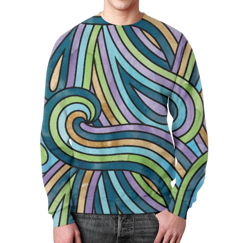 Свитшот мужской с полной запечаткой Printio Волнистый свитшот мужской с полной запечаткой printio абстрактные волны