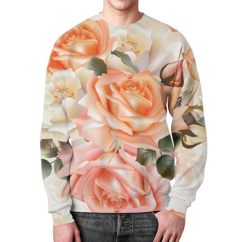 Свитшот мужской с полной запечаткой Printio Чайная роза беверли дж патни м харбо к и др чаша роз ворон и роза белая роза шотландии английская роза мисс темплар и святой грааль вечная роза