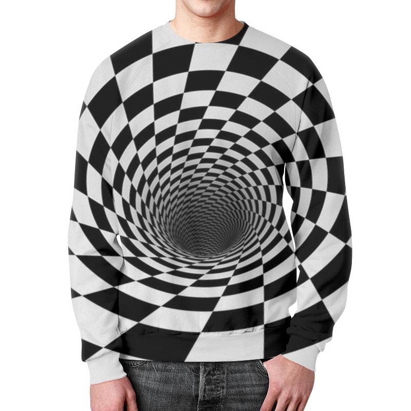 Свитшот унисекс с полной запечаткой Printio Воронка шахматная. черное и белое. junlinu черное и белое 38