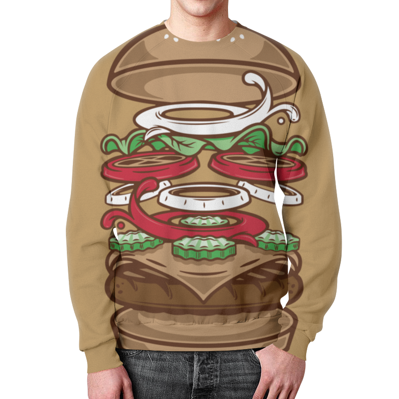 Свитшот унисекс с полной запечаткой Printio Burger/бургер цена