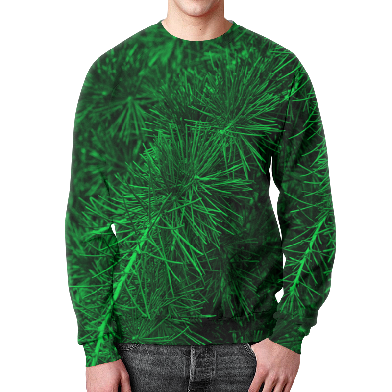Свитшот мужской с полной запечаткой Printio Зеленая ель ель crystal trees питерская зеленая 210cm kp8121