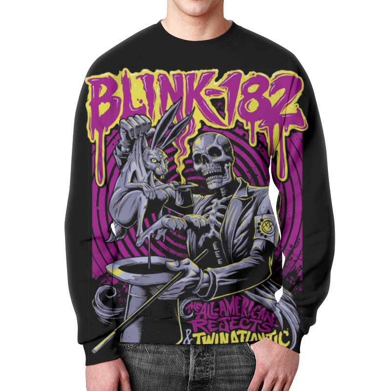 Свитшот мужской с полной запечаткой Printio Blink-182 band