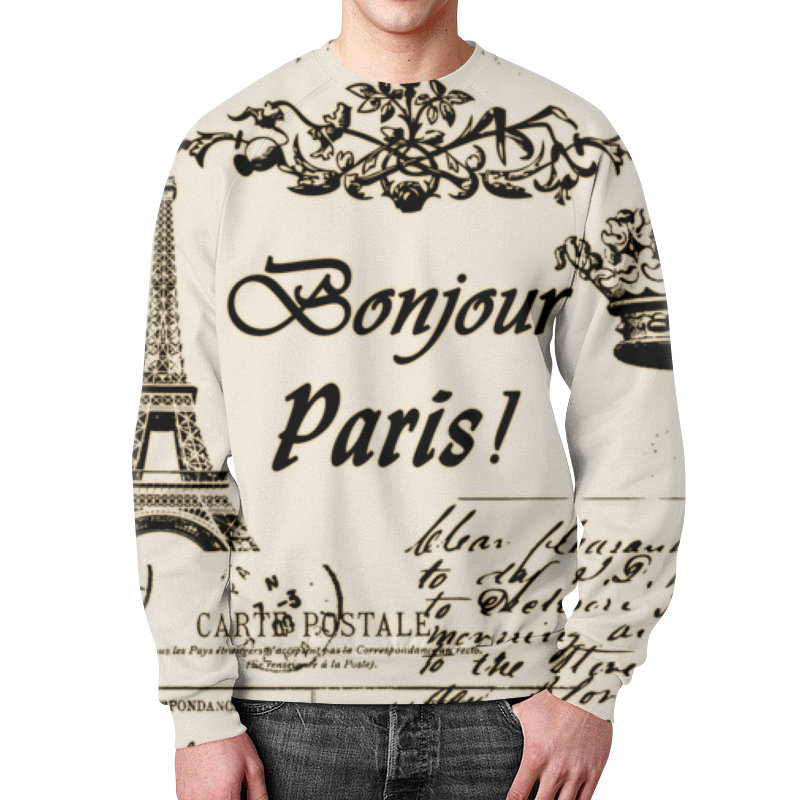 Свитшот мужской с полной запечаткой Printio Париж винтажный стиль супернаклейки