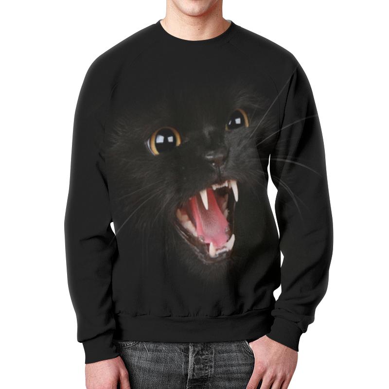 Свитшот мужской с полной запечаткой Printio Черный кот. магический взгляд.