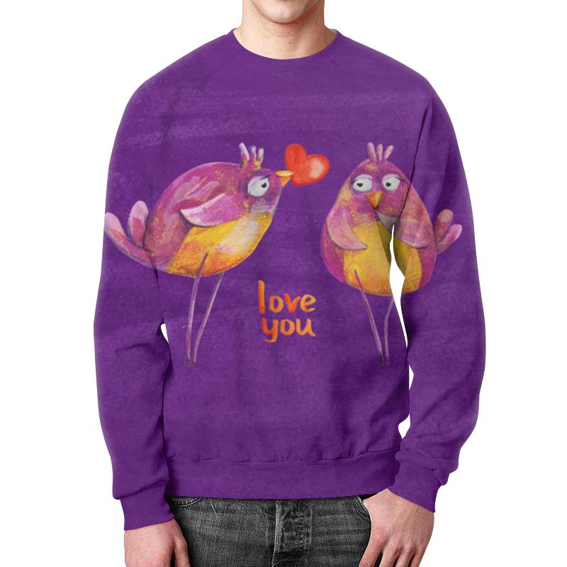 Свитшот унисекс с полной запечаткой Printio Влюбленные птички влюбленные