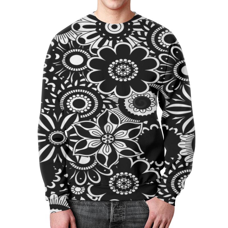 Printio Черно-белые цветы свитшот мужской с полной запечаткой printio сердца черно золотые