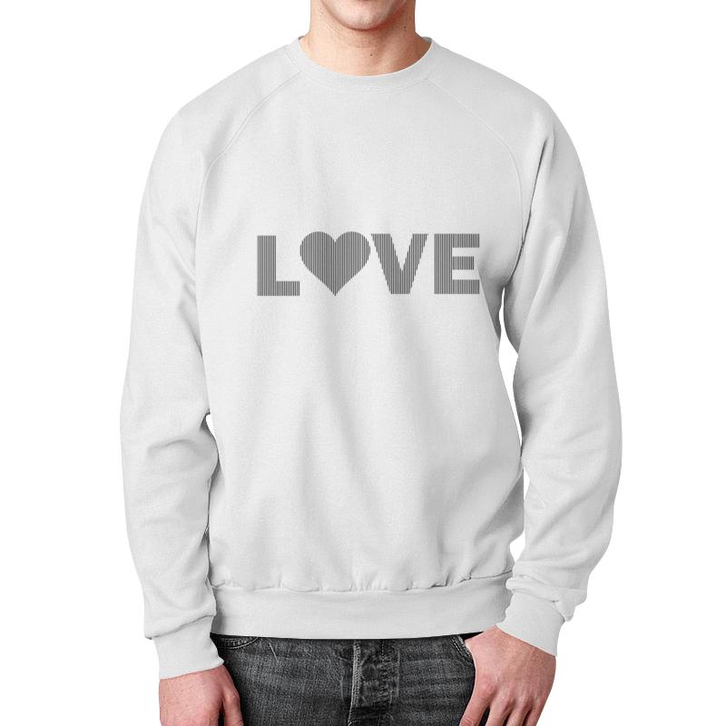 Свитшот унисекс с полной запечаткой Printio Ченая и белая полоски.сердце.любовь. цена и фото