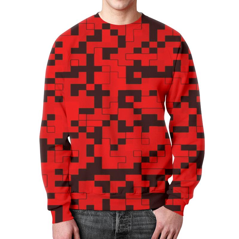 Свитшот мужской с полной запечаткой Printio Красные пиксели свитшот мужской с полной запечаткой printio зелено красные линии