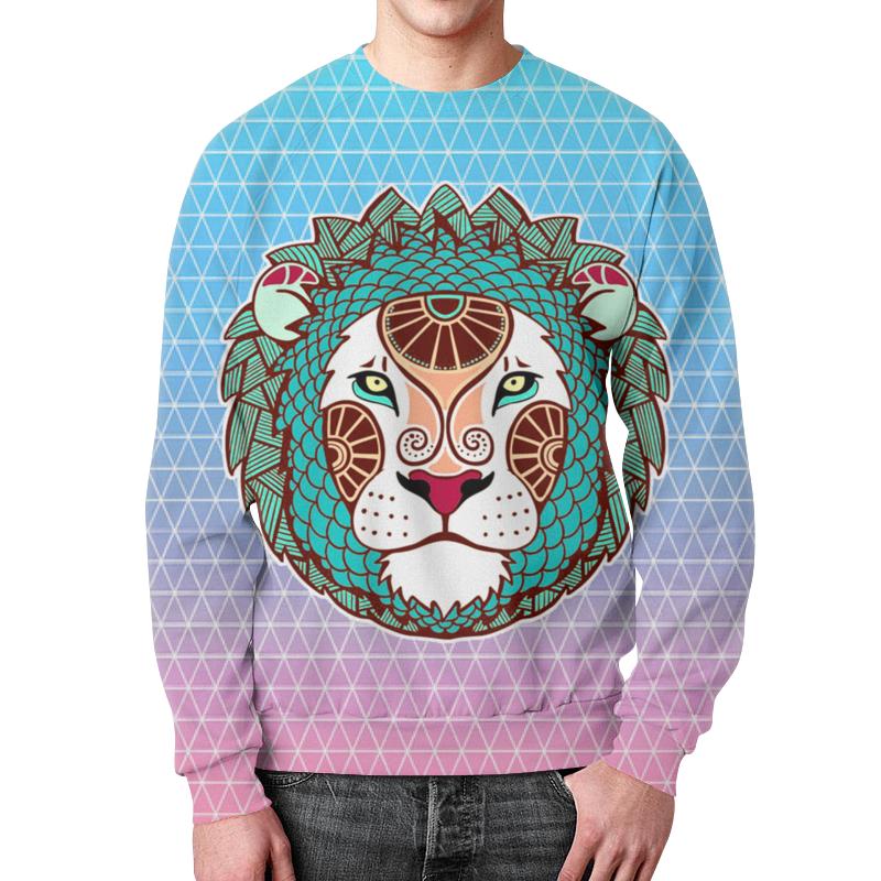 Свитшот мужской с полной запечаткой Printio Лев царь зверей в природе символ силы силы в природе