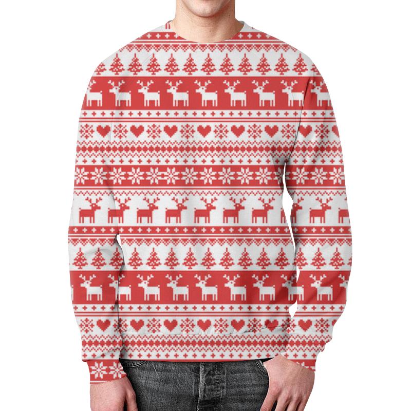 Свитшот мужской с полной запечаткой Printio Свитер с оленями свитшот унисекс с полной запечаткой printio свитер с оленями 1