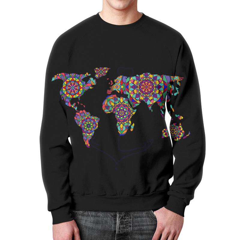 Свитшот мужской с полной запечаткой Printio Свитшот унисекс с этнической картой мира свитшот унисекс с полной запечаткой printio darkside