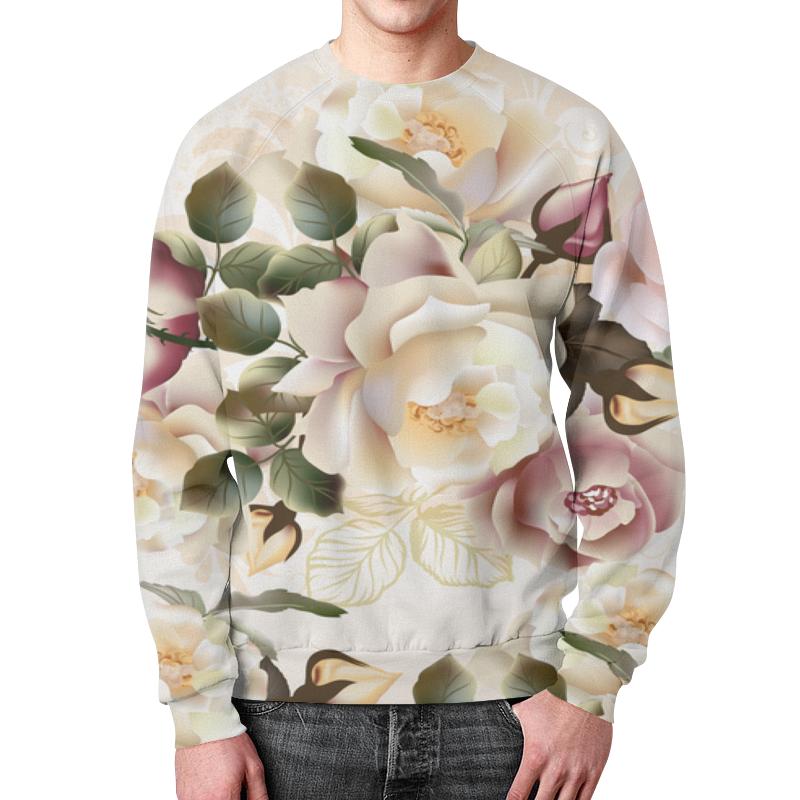 Свитшот мужской с полной запечаткой Printio Розовые розы 48531 ярко розовые и светло розовые розы в средней круглой вазе со скошенным верхом