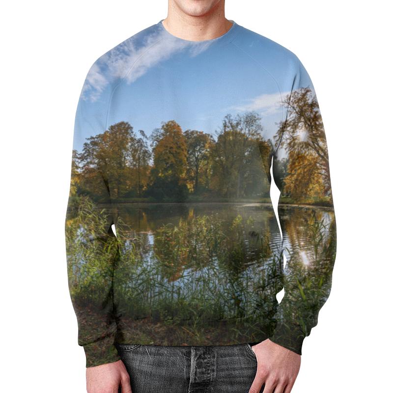 Свитшот мужской с полной запечаткой Printio Деревья у озера деревушка у озера