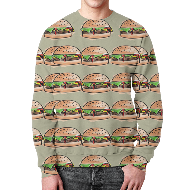 все цены на Свитшот мужской с полной запечаткой Printio I love burgers!