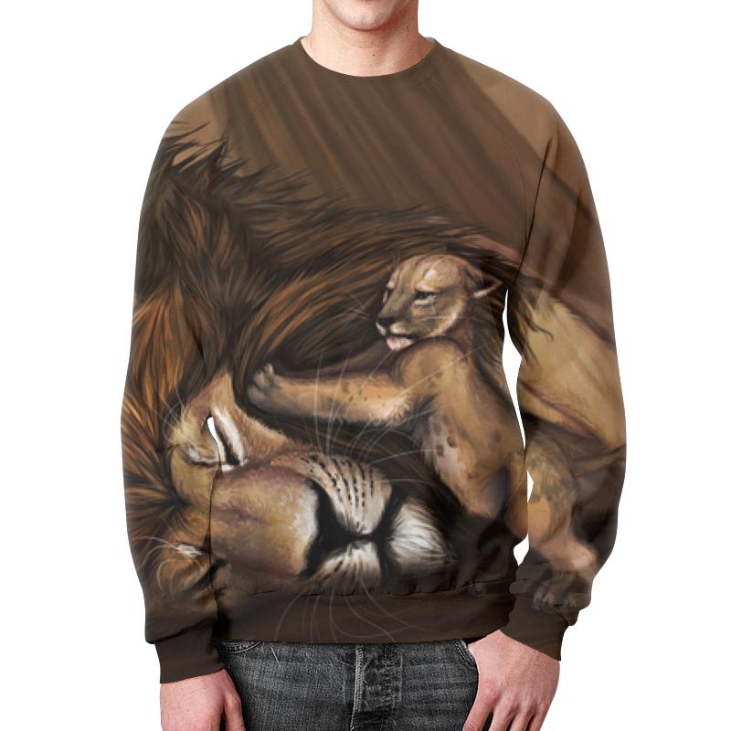 купить Свитшот мужской с полной запечаткой Printio Лев и львенок по цене 2490 рублей