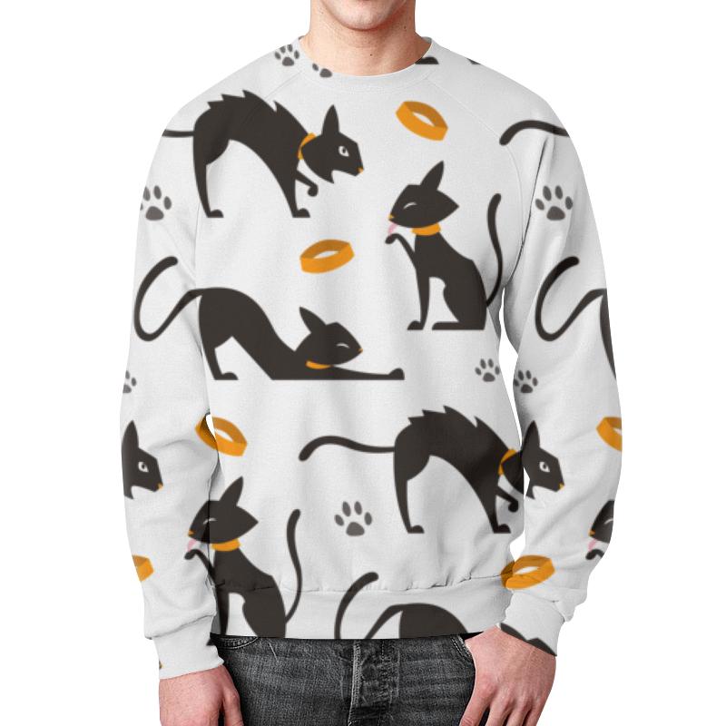 Свитшот унисекс с полной запечаткой Printio Чёрные кошки чёрные бушлаты цифровая версия