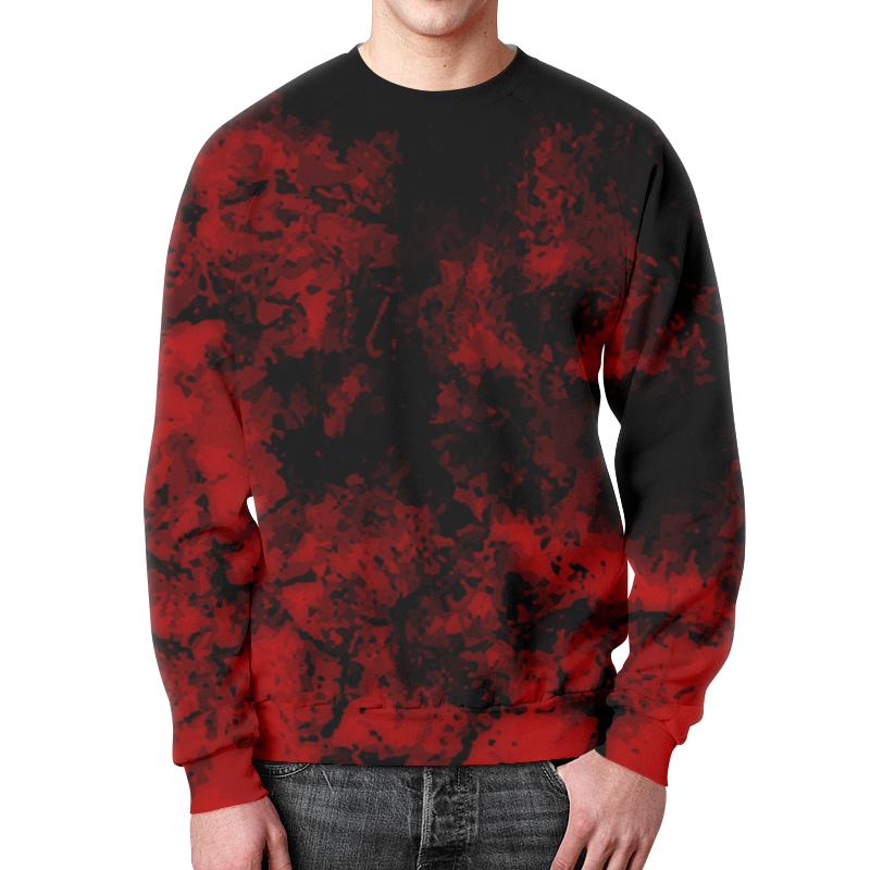 Printio Черно-красный свитшот мужской с полной запечаткой printio сердца черно золотые