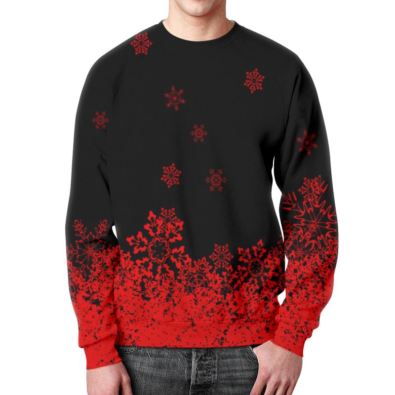 Свитшот мужской с полной запечаткой Printio Красные снежинки костюм маленькой снежинки 32