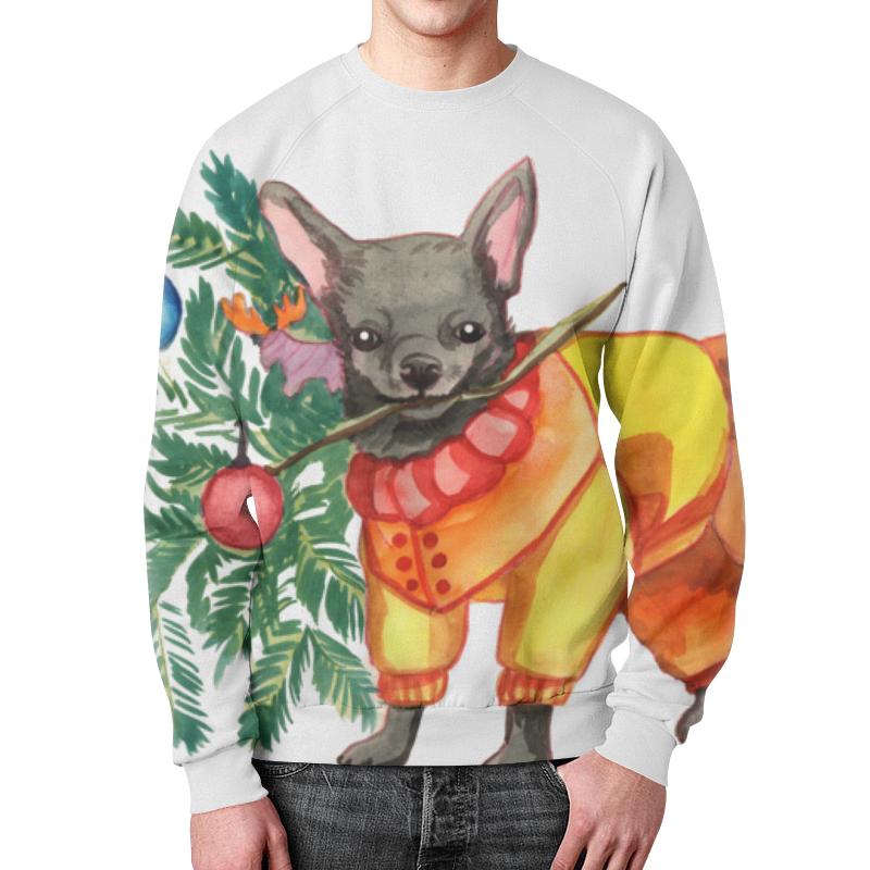 Свитшот мужской с полной запечаткой Printio Акварельная новогодняя забавная собака рубашка поло с полной запечаткой printio акварельная новогодняя забавная собака