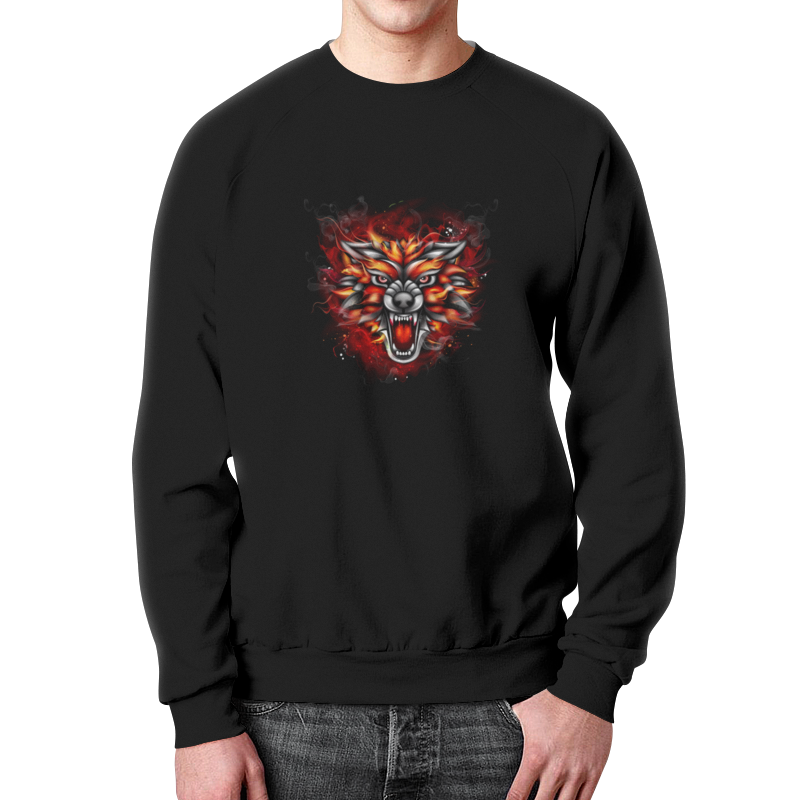 Свитшот мужской с полной запечаткой Printio Wolf & fire свитшот print bar wolf art