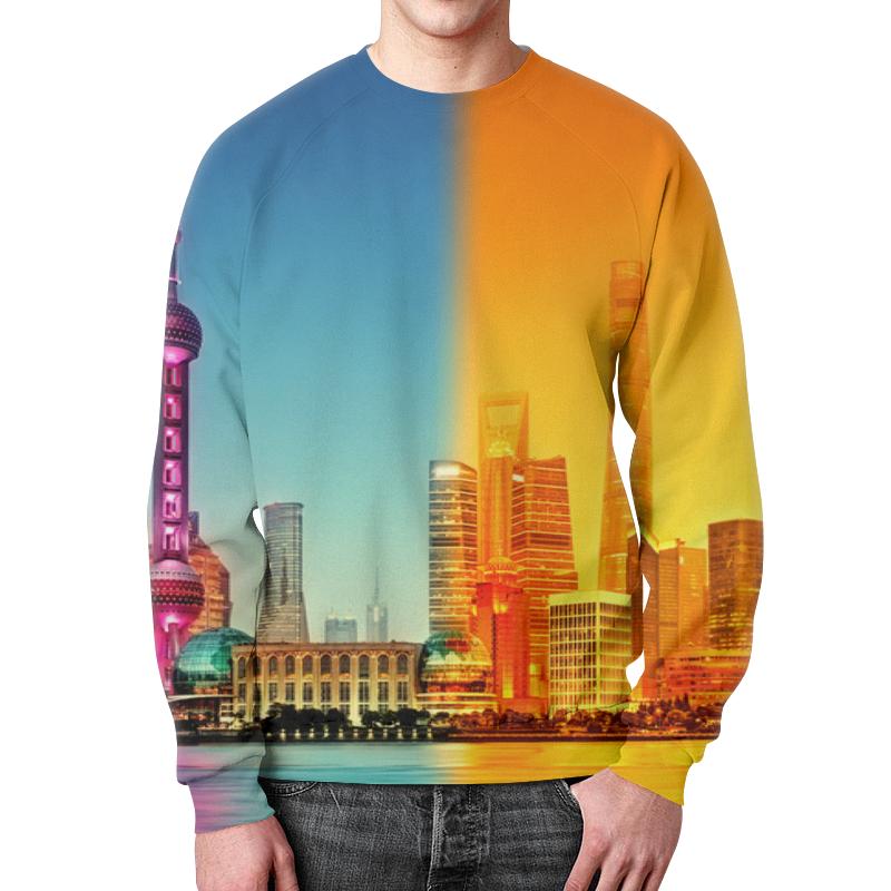 Printio Город в красках свитшот мужской с полной запечаткой printio полет в бездну