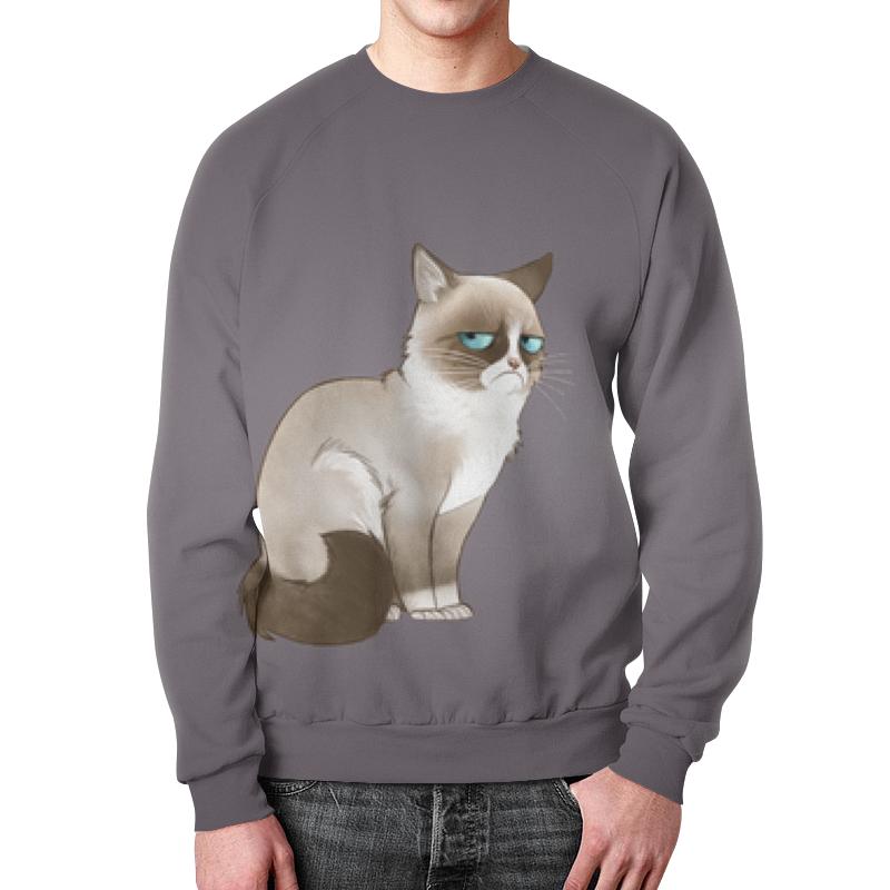 Свитшот унисекс с полной запечаткой Printio Сердитый кот недорого