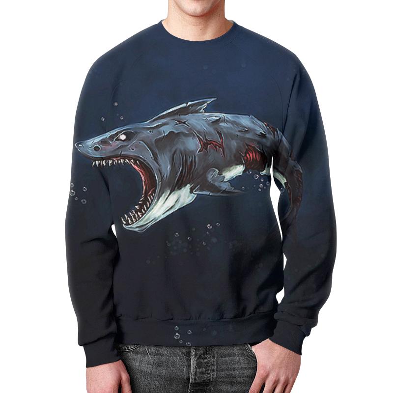 Свитшот мужской с полной запечаткой Printio Акула зомби новые приобретения пол акула акула кашемир сгущаться мужской свитер