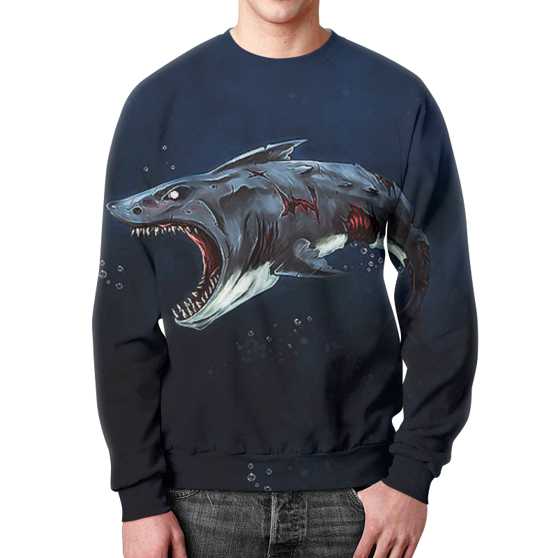Printio Акула зомби свитшот мужской с полной запечаткой printio акула