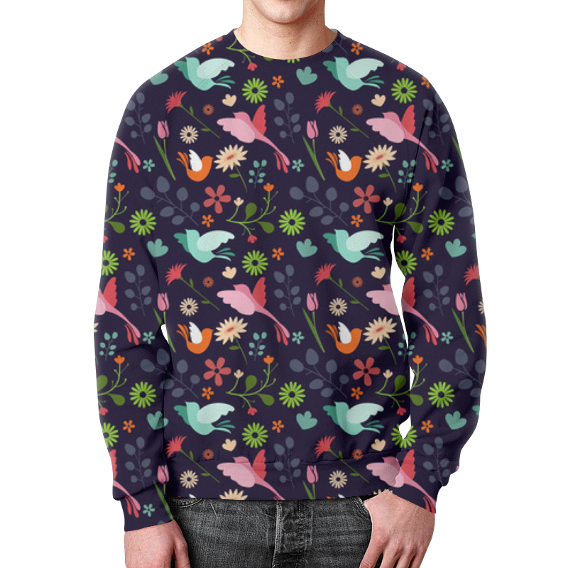 Свитшот мужской с полной запечаткой Printio Birds & flowers свитшот унисекс с полной запечаткой printio birds