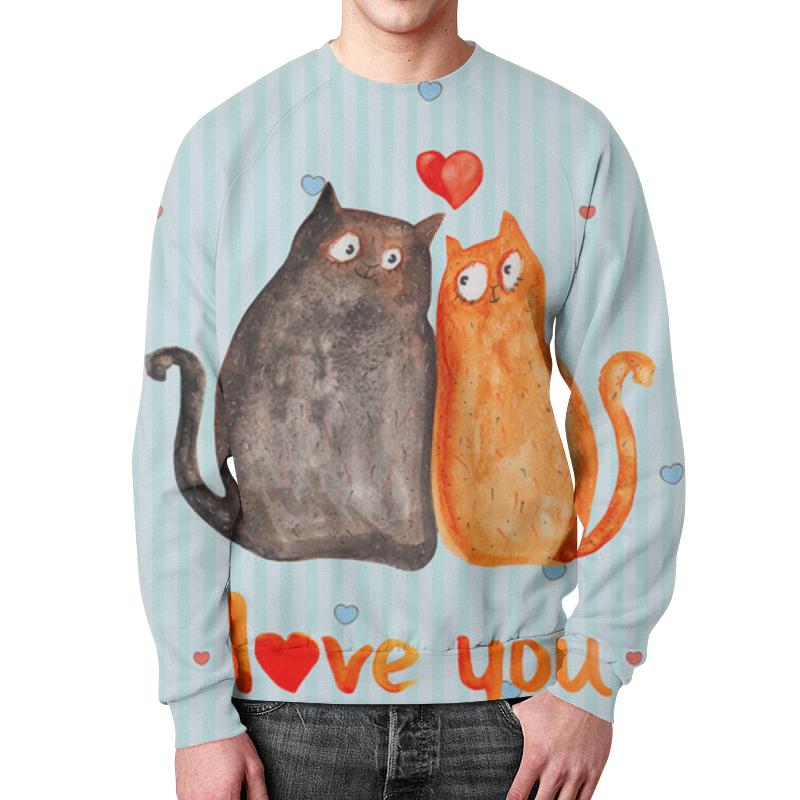 Фото - Свитшот мужской с полной запечаткой Printio Влюбленные коты влюбленные коты