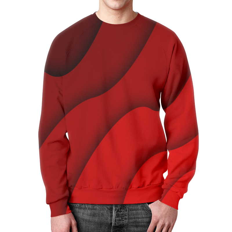 Свитшот мужской с полной запечаткой Printio Красные волны свитшот мужской с полной запечаткой printio зелено красные линии