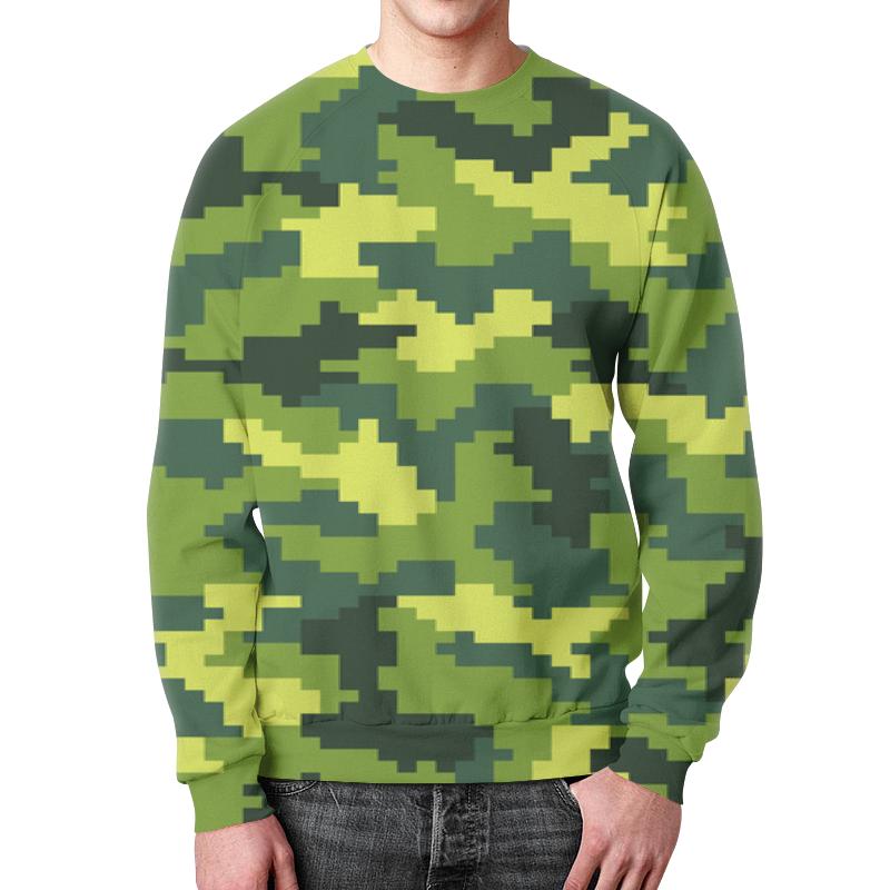 Свитшот мужской  полной запечаткой Printio Зеленый камуфляжный
