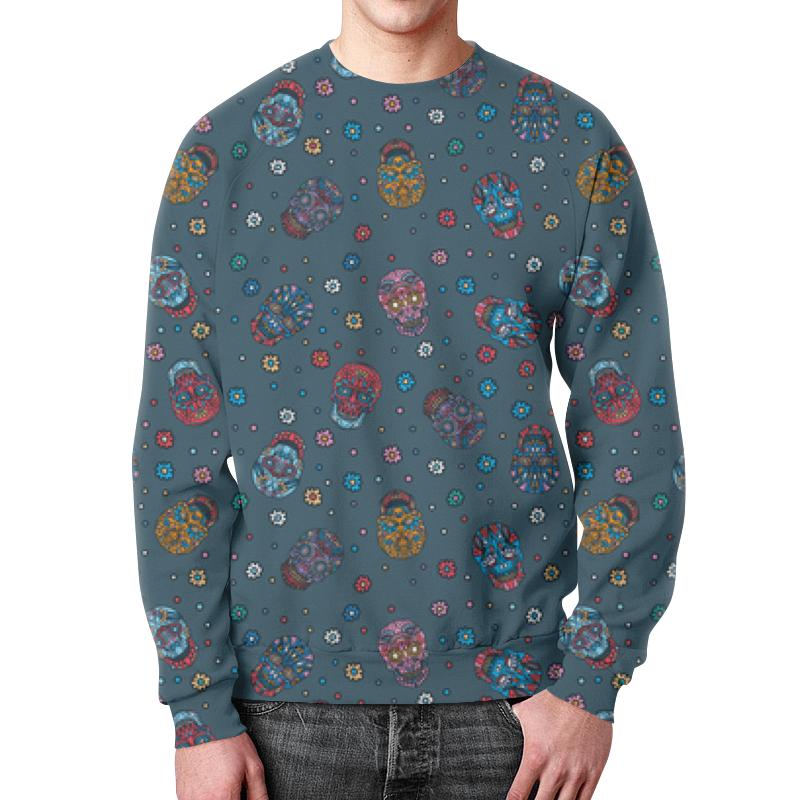 Фото - Свитшот мужской с полной запечаткой Printio Цветочный череп. паттерн джинса бомбер printio цветочные черепа джинса