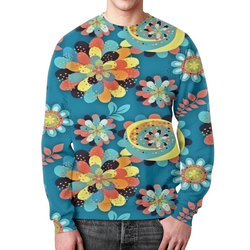 Printio Цветы в красках свитшот мужской с полной запечаткой printio полет в бездну