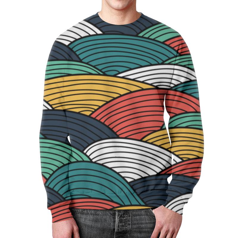 Свитшот мужской с полной запечаткой Printio Цветные волны свитшот мужской с полной запечаткой printio абстрактные волны