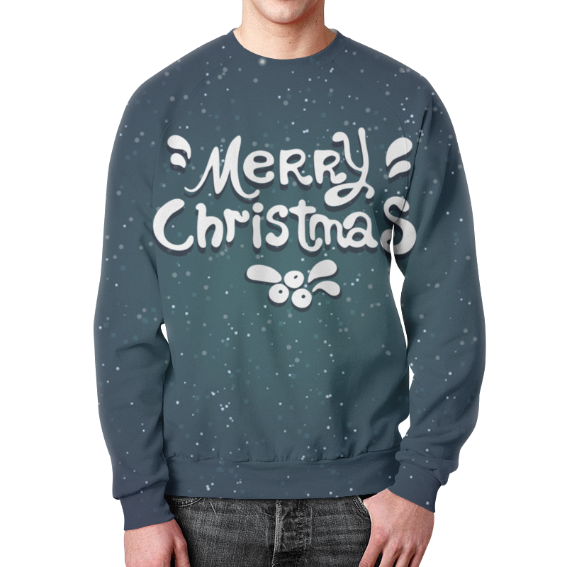Свитшот мужской с полной запечаткой Printio Merry christmas недорого