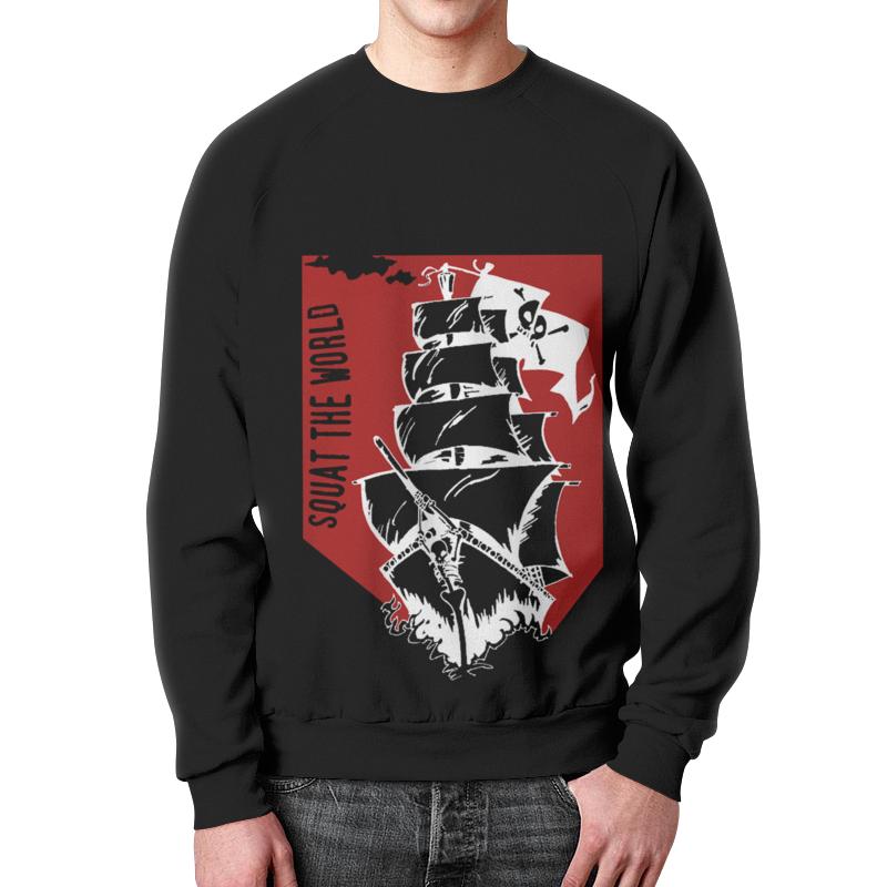 Свитшот мужской с полной запечаткой Printio Пиратский корабль александра треффер под пиратским флагом фантазии натему произведений р сабатини