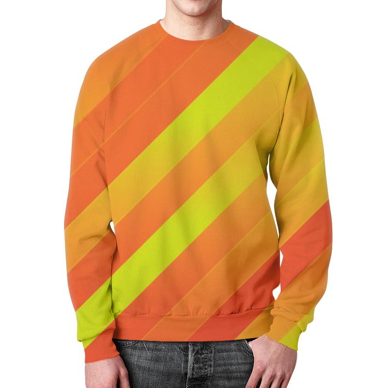 Свитшот мужской с полной запечаткой Printio Желто-оранжевые линии цена