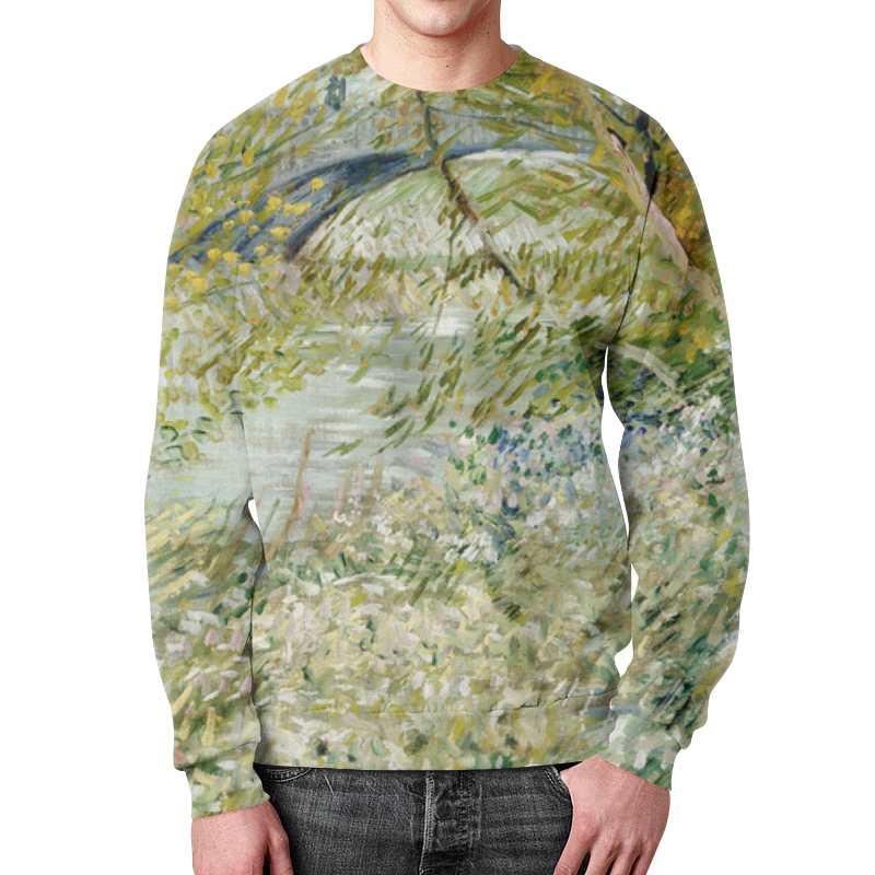 Свитшот мужской с полной запечаткой Printio Берег реки весной ( винсент ван гог) zogaa весной и осенью новый корейский мужской пиджак
