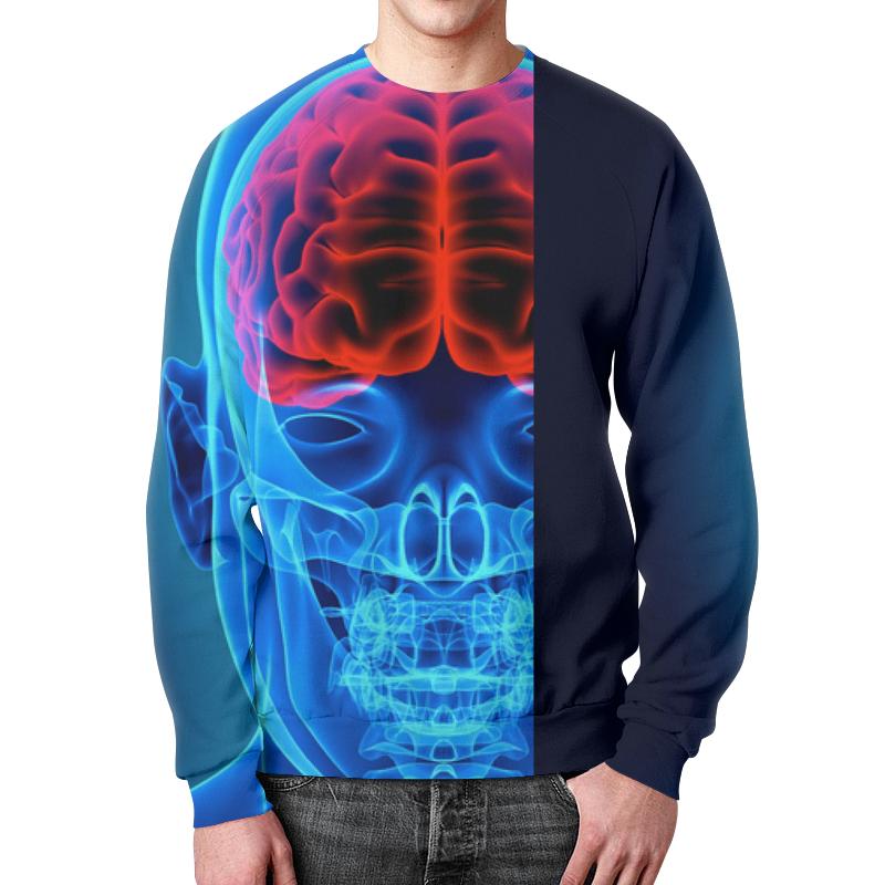 Свитшот мужской с полной запечаткой Printio X-ray skull свитшот print bar hardcore punk skull
