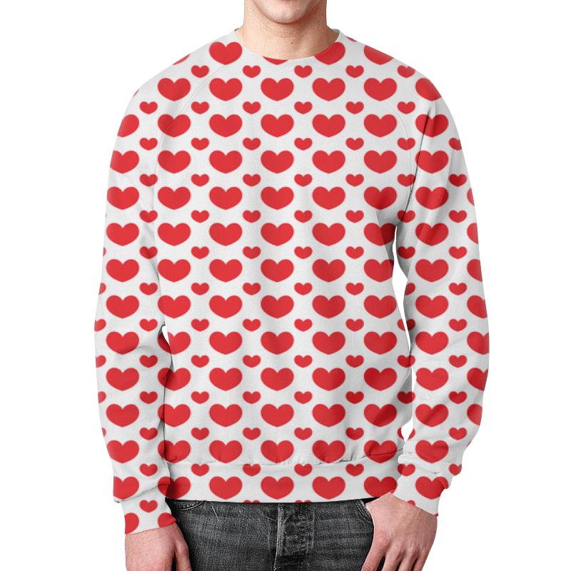 Свитшот мужской с полной запечаткой Printio Красные сердечки свитшот мужской с полной запечаткой printio зелено красные линии