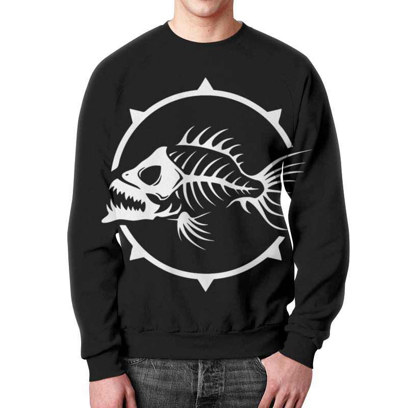Свитшот унисекс с полной запечаткой Printio Рыба скелет олег ольхов рыба морепродукты на вашем столе