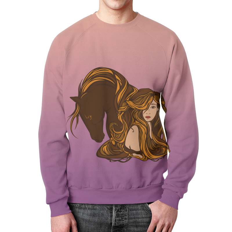 Свитшот мужской с полной запечаткой Printio Девушка и лошадь рюкзак с полной запечаткой printio девушка и лошадь