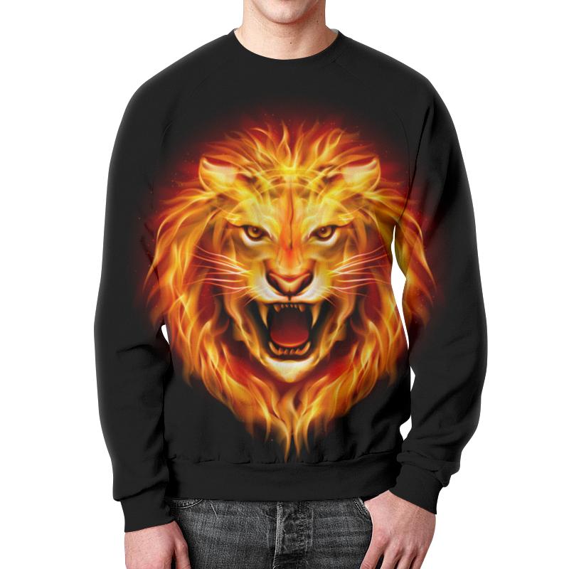 где купить Свитшот унисекс с полной запечаткой Printio Огненный лев дешево