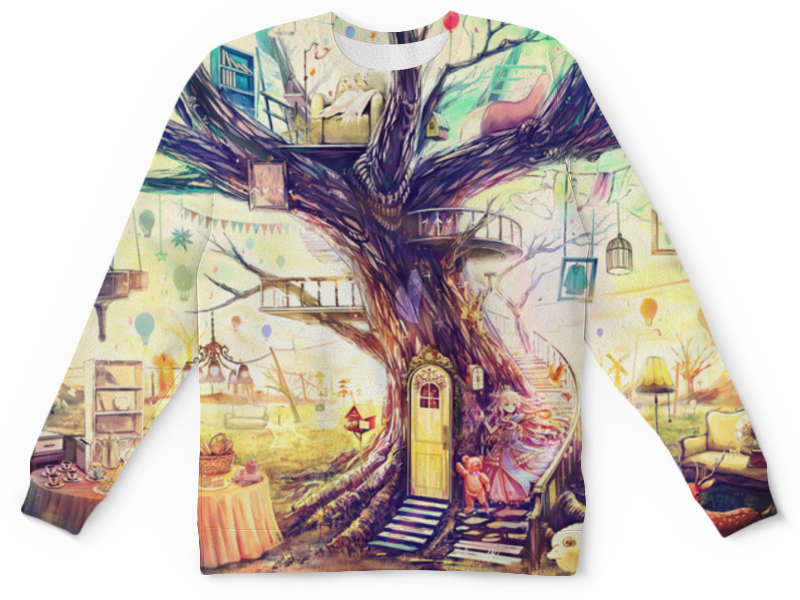 Свитшот унисекс с полной запечаткой Printio Дерево жизни кувшин дерево жизни
