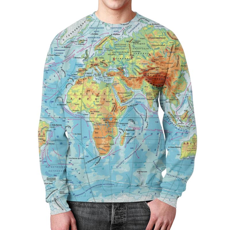 где купить Свитшот унисекс с полной запечаткой Printio Карта мира по лучшей цене