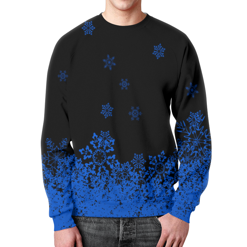 Свитшот унисекс с полной запечаткой Printio Синие снежинки цена